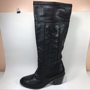 Fossil Leather Heeled Boots 9 Pull On